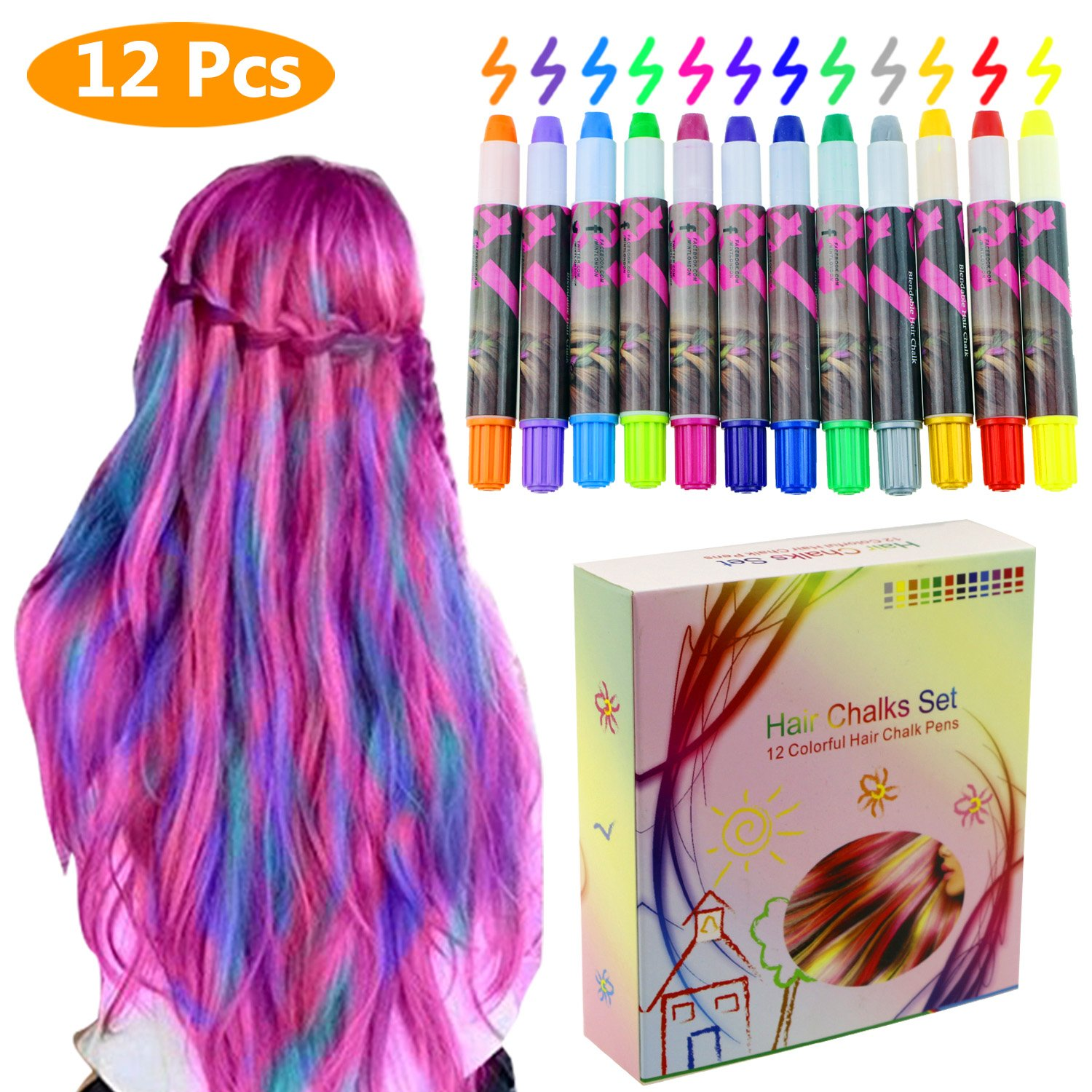 Amazon Philonext 12 Color Temporary Hair Chalk Gift Set For