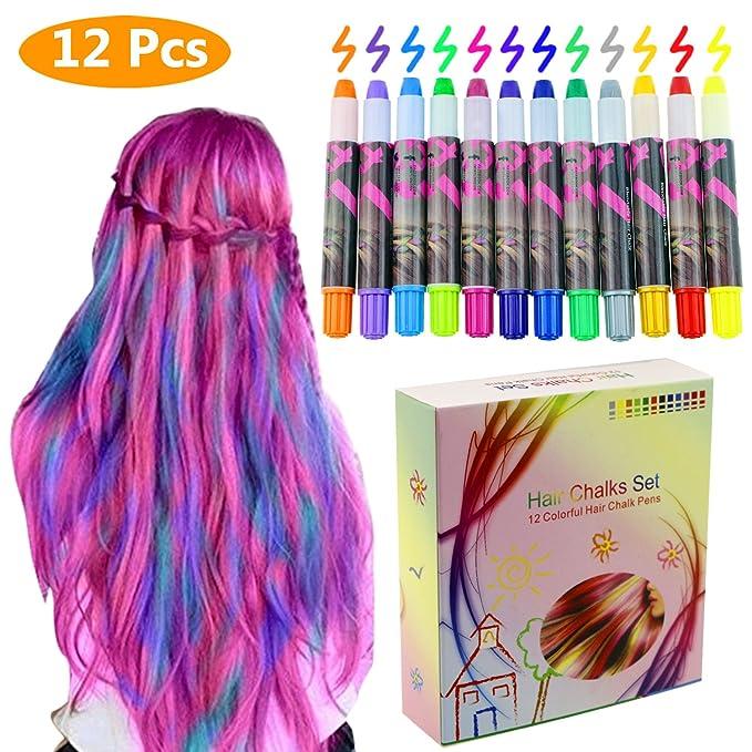 Philonext Set de tizas para el cabello -12 plumas de tiza coloridas profesionales para el pelo con cerumen no tóxico Brillo metálico para el cabello ...