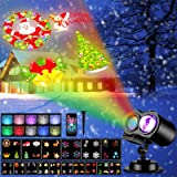 Christmas Projector Lights, Remote Control 2-in-1 Moving Patterns with Ocean Wave LED Landscape Lights Waterproof…
