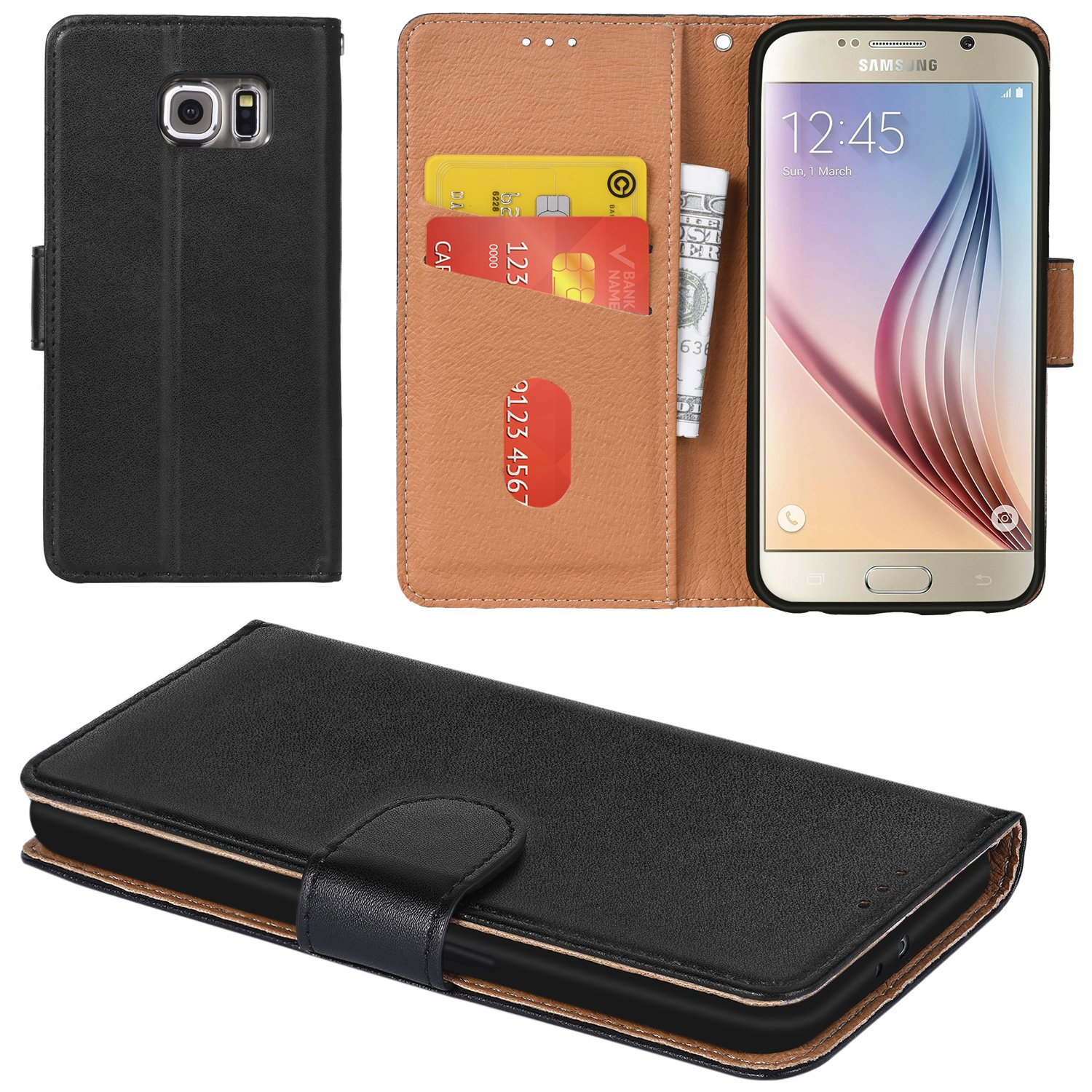 Galaxy S6 Case, Aicoco Flip Cover Leather, Phone Wallet Case for Samsung Galaxy S6 - Black by Aicoco