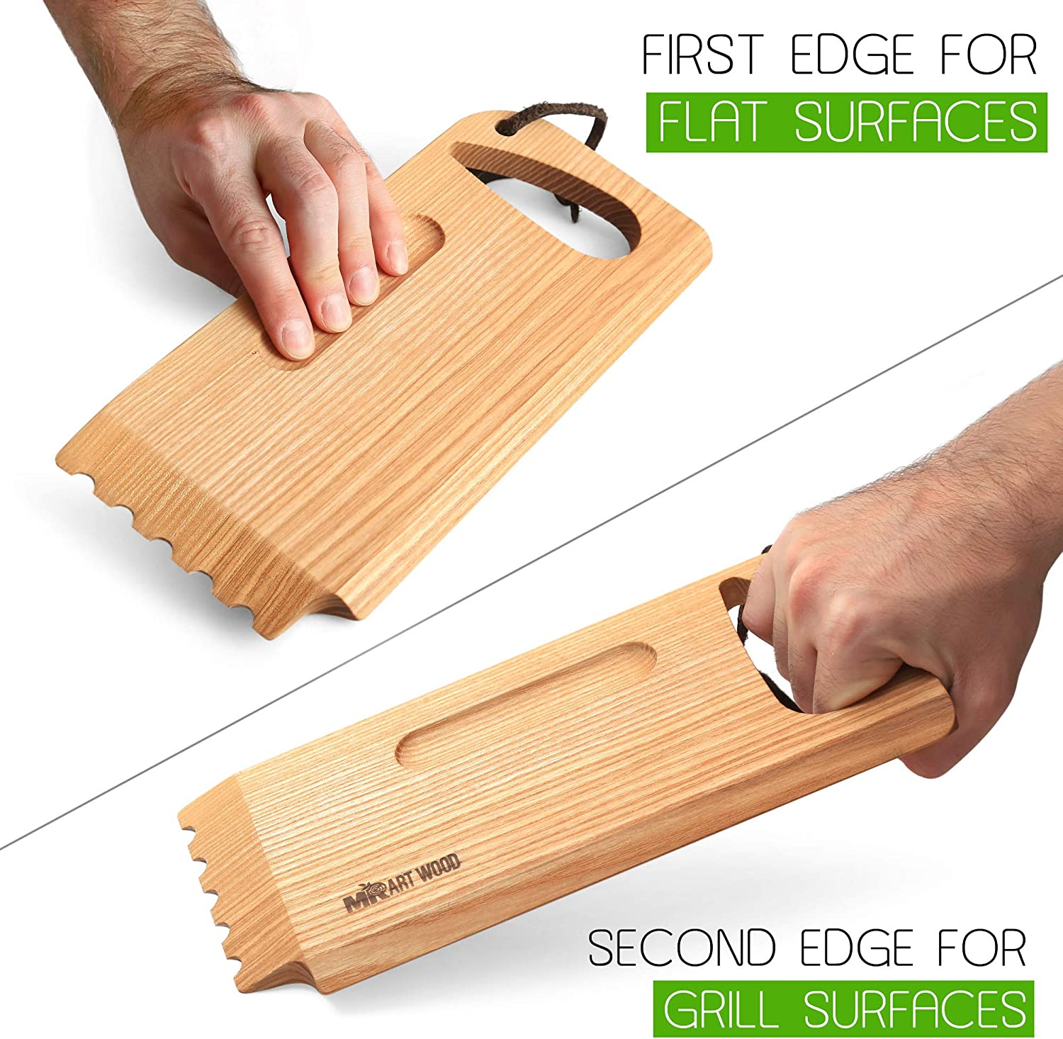 """Size 10.6/"""" x 4.7/"""" 100/% Natural One-Piece Ash Wood Made in Europe Mr.Art Wood BBQ and Grill Wooden Scraper Tool Barbeque Cleaner with Grooved and Flat Edge"""