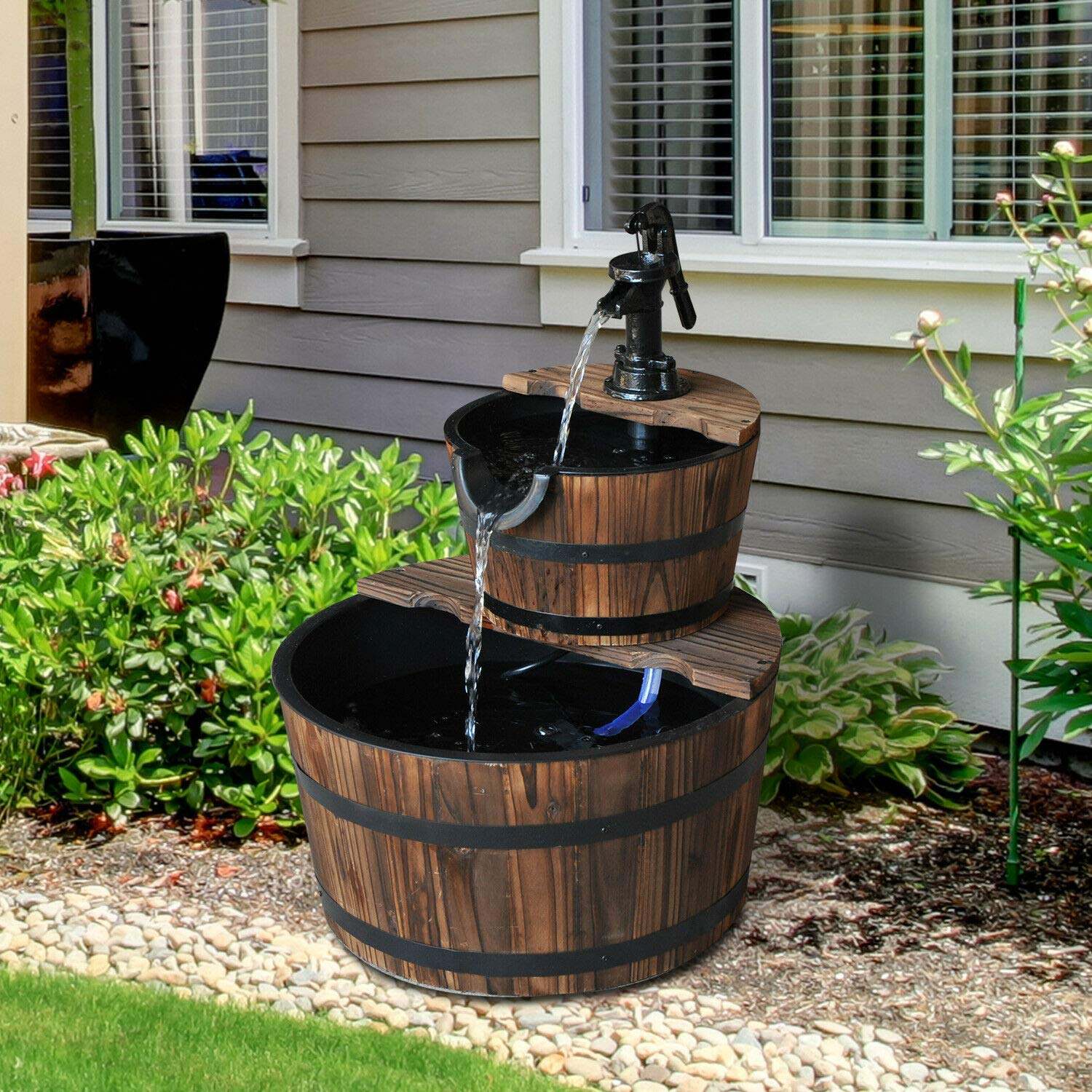 n-bright shop 2 Tier Fountain Pump Barrel Rustic Wood Water Fountain with Pump Traditional Garden Outdoor Decor by n-bright shop