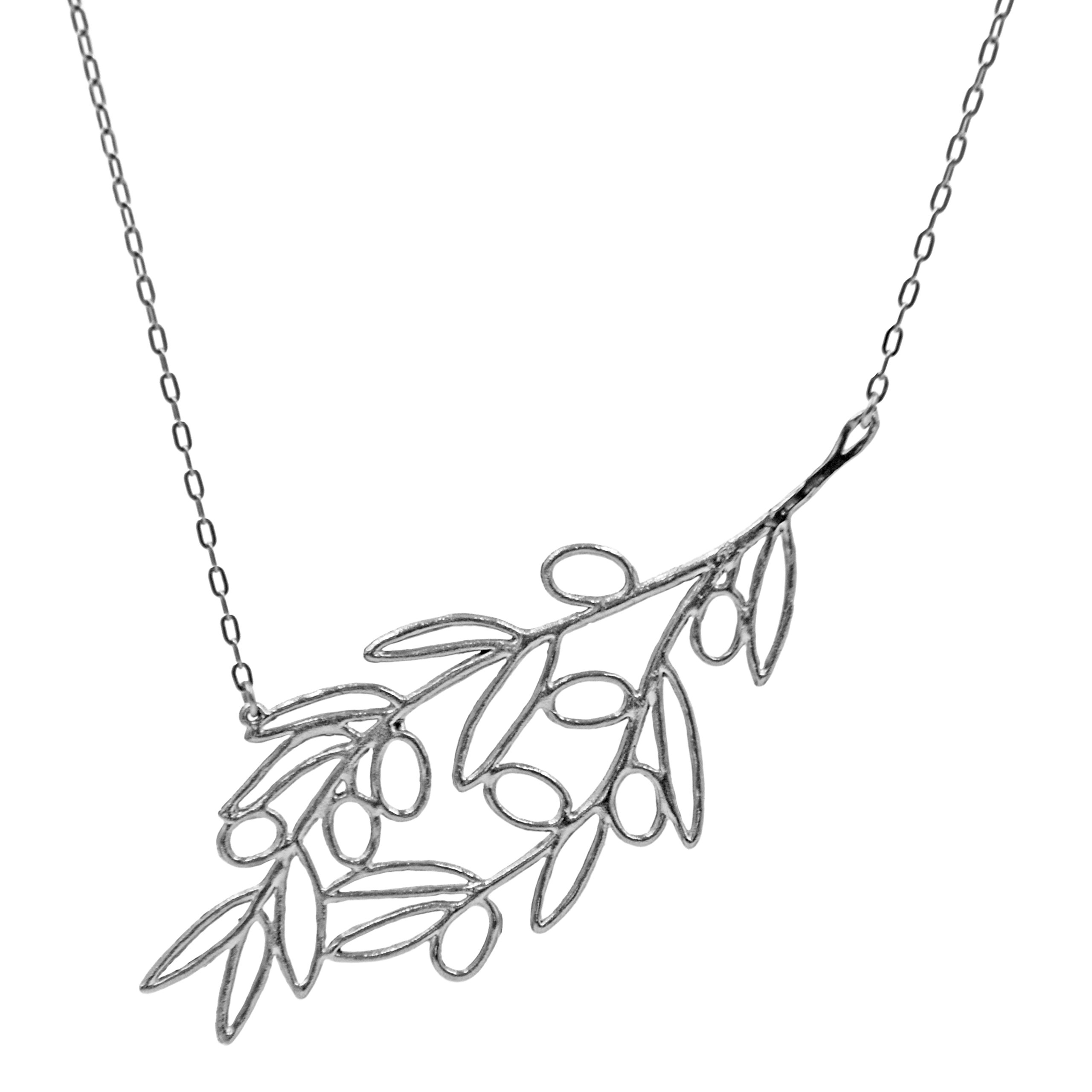 Olive Branch Slanted Collar Necklace (Silver Plated) by Mercedes Shaffer