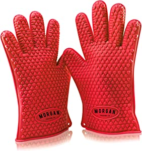 Silicone Heat Resistant Cooking Gloves for BBQ, Grilling and Oven from Morgan Trading Co. Kitchen Mitts Offer Premium Quality, Maximum Protection, Versatility & Ease of Use. Enhance Your Cooking Experience Now!