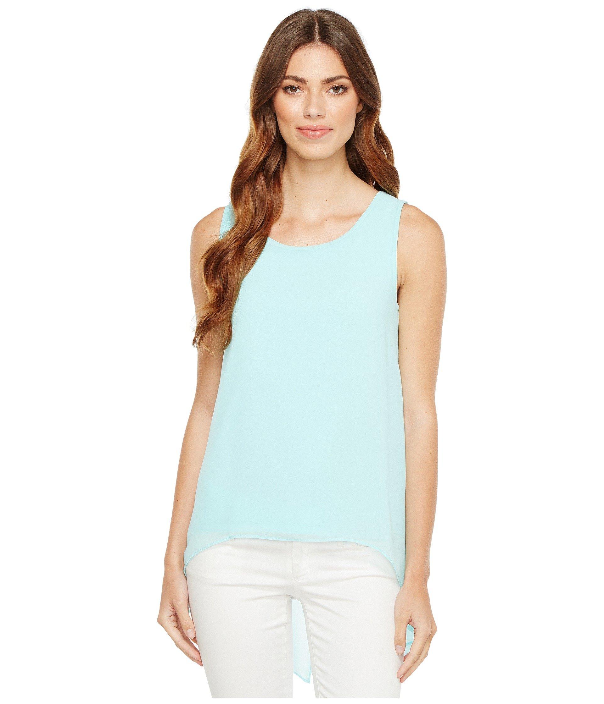 Calvin Klein Women's Slit Back Top with Chiffon Overlay Seaglass Shirt
