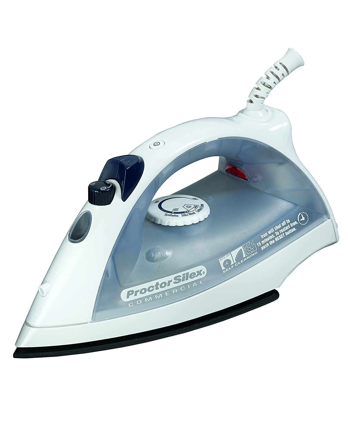 Proctor Silex Commercial Lightweight Hospitality Nonstick Steam Iron, White, 17515