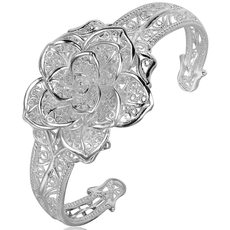 HSG Luxury Bridal Hollow Bracelet Flower Pendant Bangel S990 Sterling Silver Bracelet