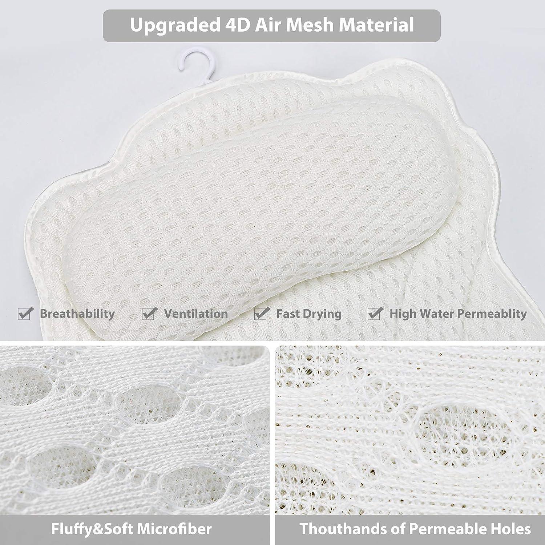 Bath Pillow 4D Air Mesh Luxury Bathtub SPA Headrest Ergonomic Tub Pillow for Neck Head Support Washable Shower Pillow for Women & Men : Beauty