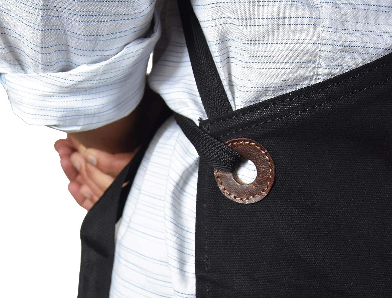 Aaron Cuir Cuir Tablier Multi-usages Shop Outil de Tablier avec Poches Large Waxed Raven Black