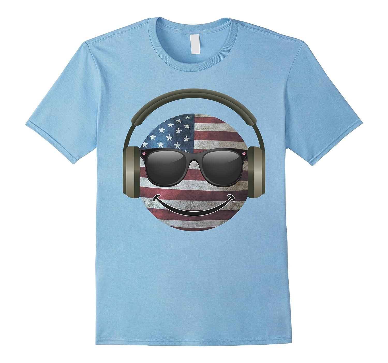 Vintage Patriotic USA Flag Emoji Face Headphones  Shades-PL