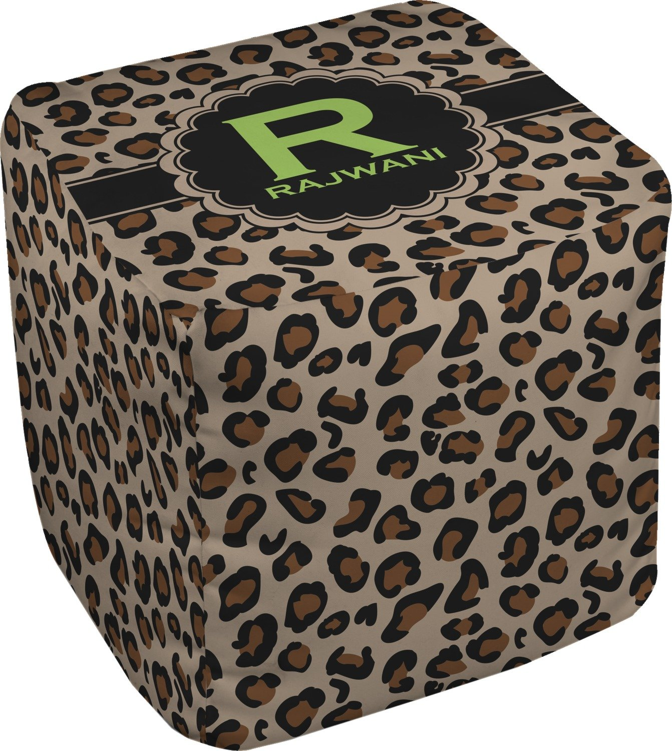 RNK Shops Granite Leopard Cube Pouf Ottoman - 13'' (Personalized)