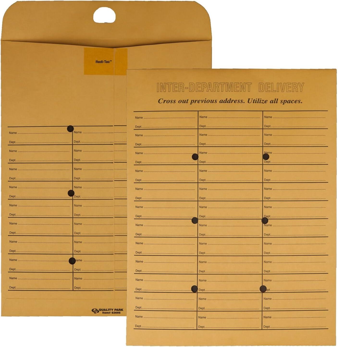 Quality Park 2-Side Interoffice Envelopes, Redi-Tac Box-Style, Brown Kraft, 10 x 13, 100 per Box, (63666)