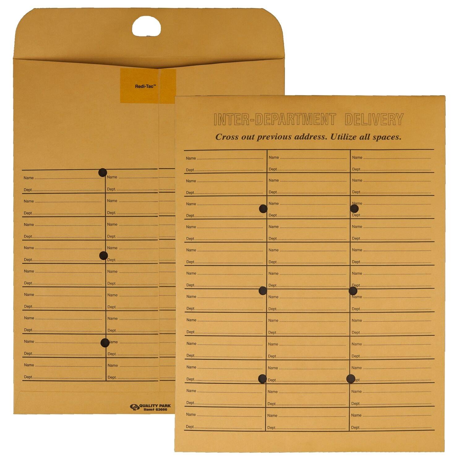 Quality Park 2-Side Interoffice Envelopes, Redi-Tac Box-Style, Brown Kraft, 10 x 13, 100 per Box, (63666) by Quality Park