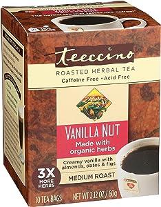 Teeccino Herbal Tea – Vanilla Nut – Roasted Chicory | Almond | Prebiotic | Caffeine Free | Acid Free | Coffee Alternative, 10 Tea Bags (Pack of 6)