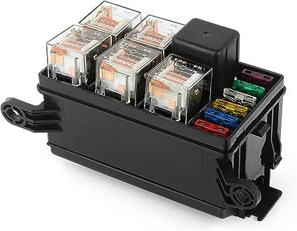 Caja de relé de fusible para automóvil DC12V 40A 6 Bloque de relé 5 vías para