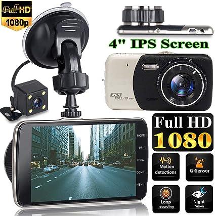 "1080P 4/"" Dual Lens HD Car DVR Rearview Video Dash Cam Recorder Camera G-sensor"