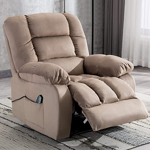 ANJ HOME Manual Massage Recliner Chair with Heat and Vibration, Living Room Reclining Chair with Thickness Armrest and Backrest, Camel
