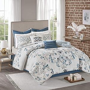 Madison Park Eden 8 Piece Cotton Printed Reversible Comforter Set, Queen, Grey