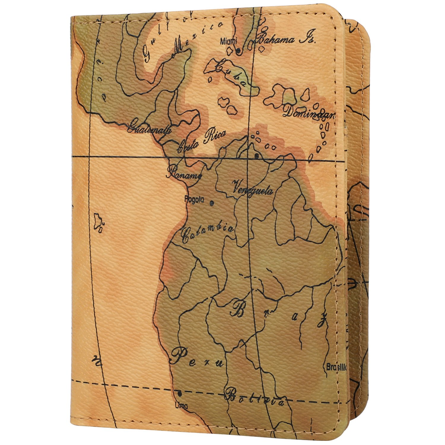 New leather passport holder cover case rfid blocking travel wallet new leather passport holder cover case rfid blocking travel wallet world map gumiabroncs Gallery