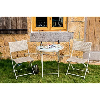 Every Season Kona 3 Piece Folding Bistro Set Wicker Table With Steel Frame Lightweight  Patio Chair