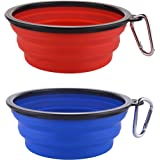 Guardians Large Collapsible Dog Bowls, 34oz Silicone Portable Foldable Water Bowls with Carabiner Clip for Travel, 2 Pack