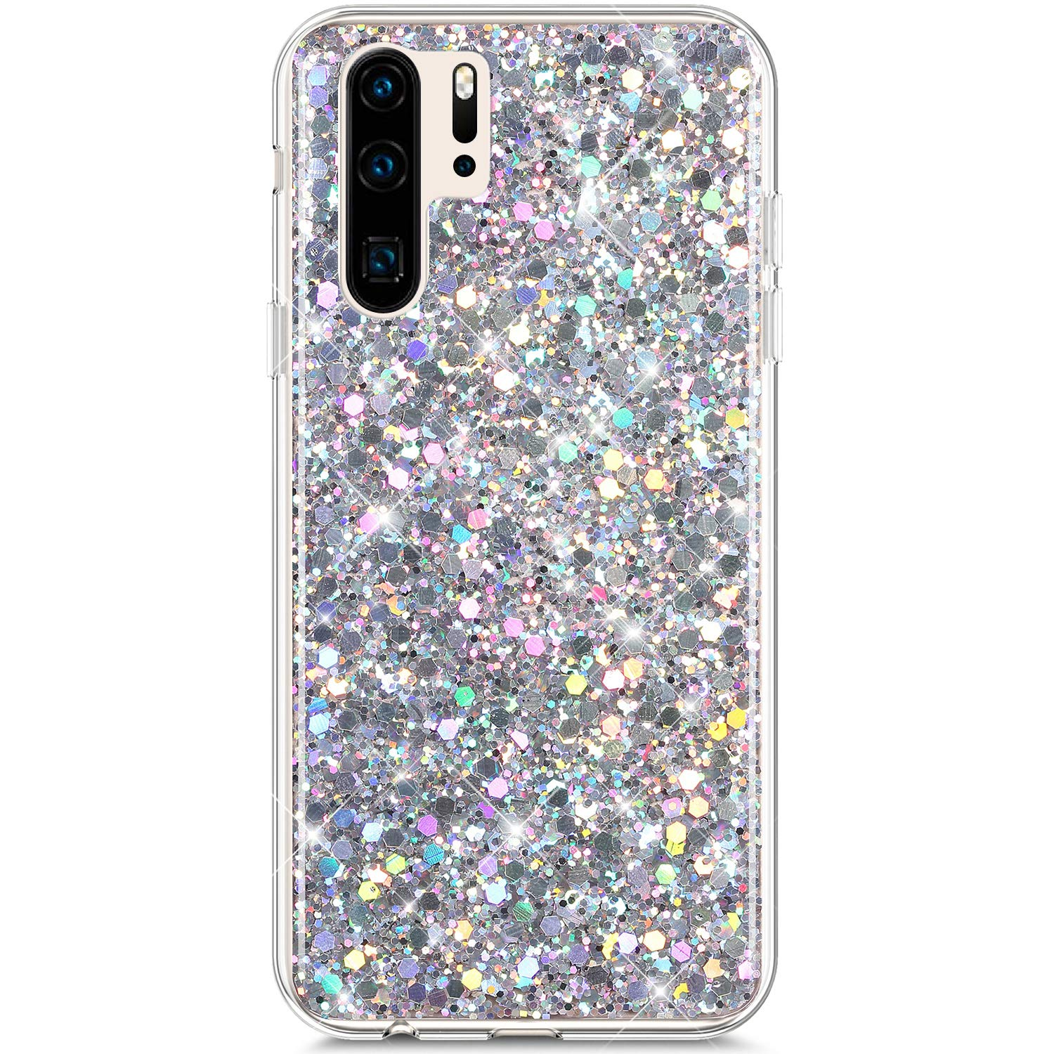 Compatible With Huawei P30 Pro Case,PHEZEN Girls Women Bling Shiny Glitter Sparkle TPU Case Flexible Rubber Silicone Case Full Body Protective Phone Case Cover For Huawei P30 Pro Purple