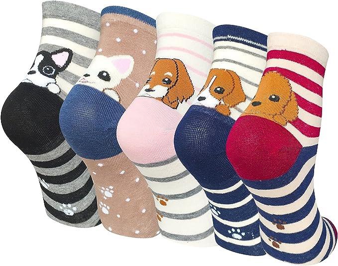 Chalier Pack de 5 Calcetines Mujer Divertidos Originales Animales ...
