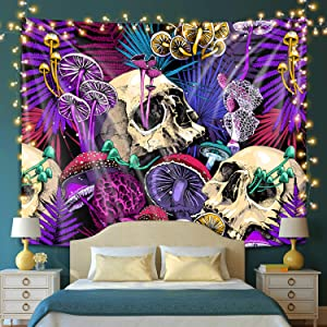 """Shinedian Trippy Skull and Mushroom Tapestry Psychedelic Weed Tapestry Wall Hanging Colorful Hippie Tapestries for Bedroom Aesthetic Dorm Room Decor (51""""H x 59""""W, 130x150 cm)"""