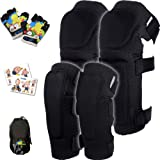 Innovative Soft Kids Knee and Elbow Pads with Bike Gloves | Toddler Protective Gear Set w/Mesh Bag& Sticker | Comfortable& Fl