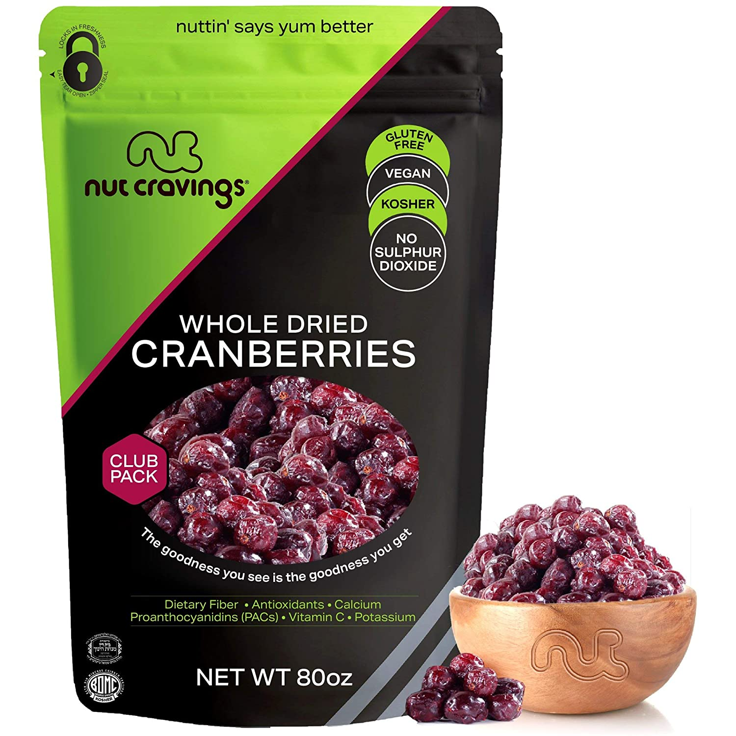 Sun Dried Whole Cranberries, Lightly Sweetened (80oz - 5 Pound) Packed Fresh in Resealable Bag - Sweet Dehydrated Fruit Treat, Trail Mix Snack - Healthy Food, All Natural, Vegan, Kosher Certified
