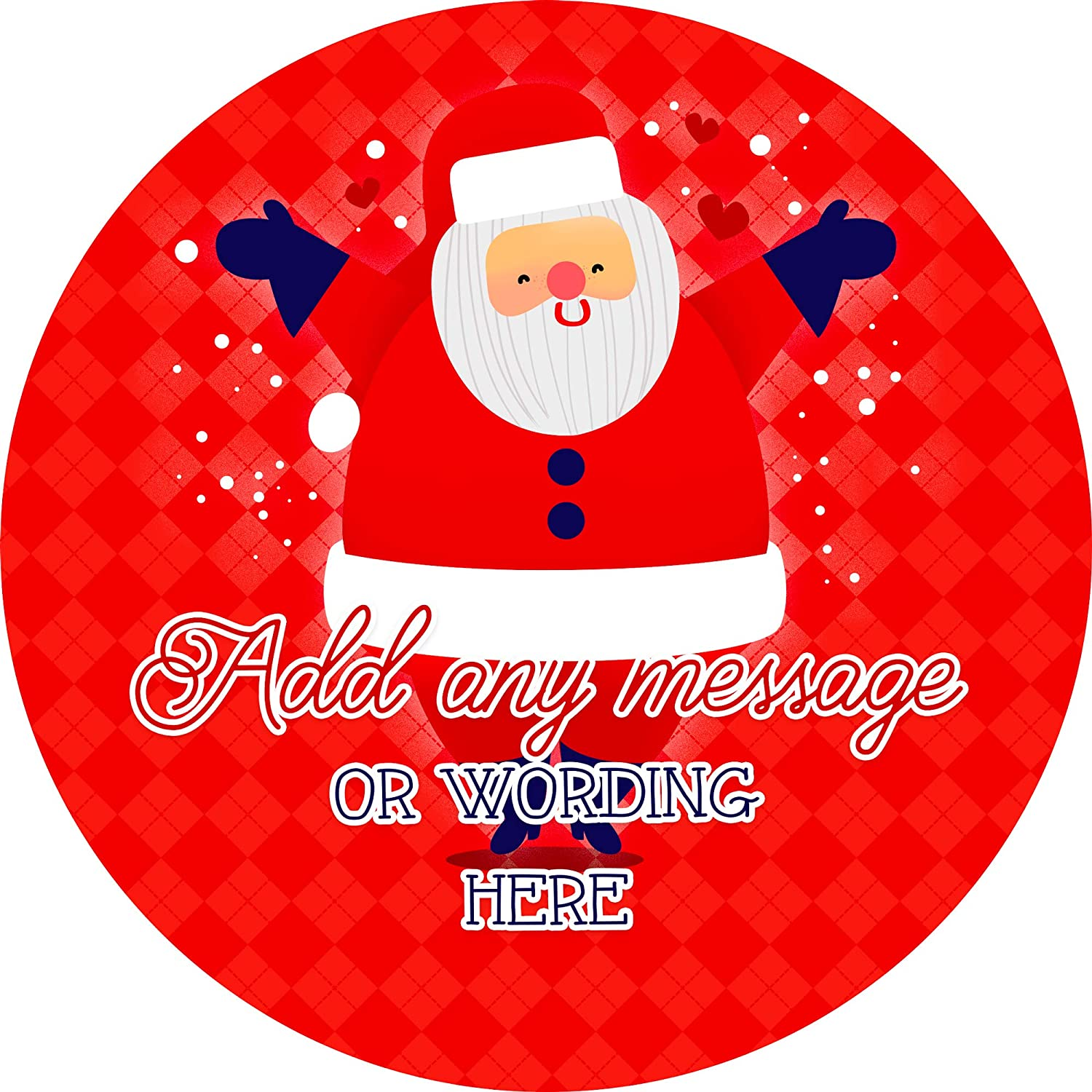 6 Stickers, 9.5cm Each Jolly Father Christmas Sticker Labels Personalised Custom Seals Ideal for Party Bags Sweet Cones Favours Jars Presentations Gift Boxes Bottles Crafts