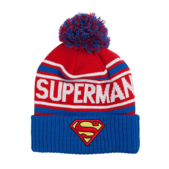 c4644a15c63 Image Unavailable. Image not available for. Color  DC Comics Men s Superman  Cuffed Pom Beanie ...