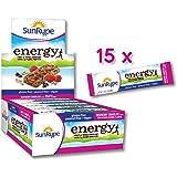SunRype Energy Raspberry Chocolate Bars with 7g Plant Protein - Vegan, Gluten-Free, Kosher, Peanut-Free (case of 15)