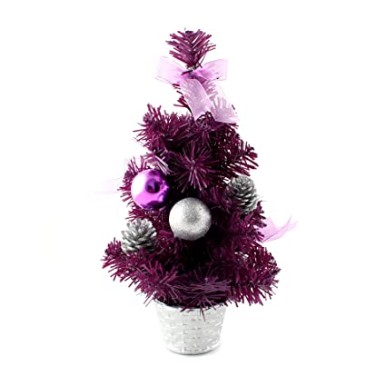 ids home 12inch mini desk top table top decorated christmas tree with bows baubles ornaments - Purple Christmas Tree Decorations