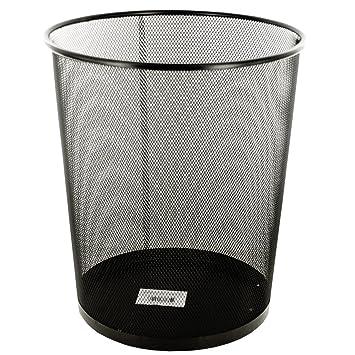 High Quality New Stylish Large Mesh Round Wastebasket, Office Organizer Storage, Metal  Trash Can. Black