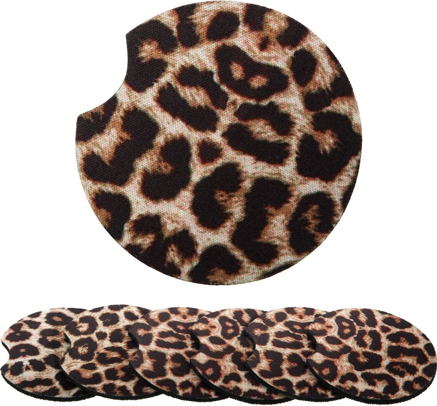 Boao 2.56 Inch Leopard Car Coasters for Drinks Neoprene Cup Coaster Rubber Car Cup Pad Mat Car Accessories for Car Living Room Kitchen Office to Protect Car and Furniture (6)