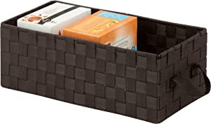 Honey-Can-Do OFC-03699 Double Woven Media Organization Basket with Handles, 16 by 8 by 6-Inch, Espresso Brown