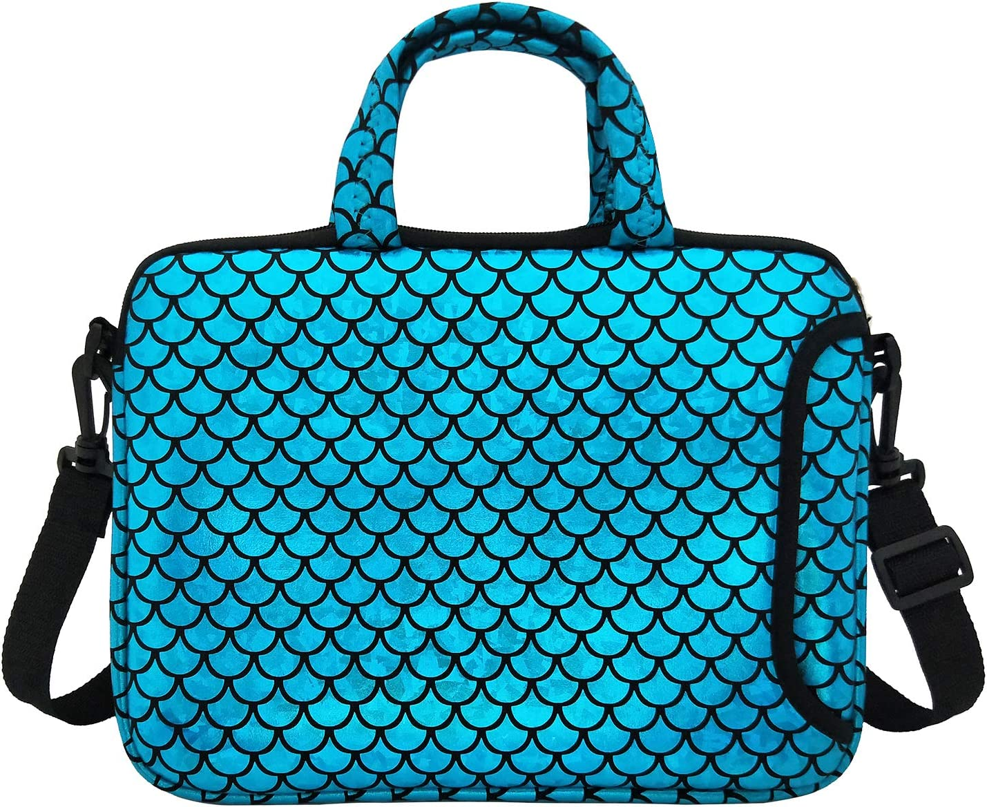 "11.6-Inch Laptop Shoulder Messenger Carrying Bag Case Sleeve For 11"" 11.6"" 12"" 12.5 inch Macbook/Notebook/Ultrabook/Chromebook, Mermaid Scale (Blue)"