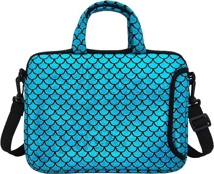 "11.6-Inch Laptop Shoulder Messenger Carrying Bag Case Sleeve For 11"" 11.6"" 12"" 12.5 inch Macbook/Notebook/Ultrabook/Chromebook, Mermaid Scale (Blue)"
