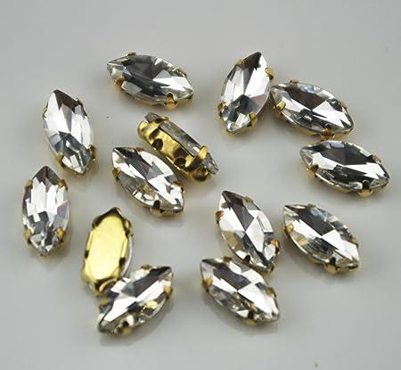 100 Pcs 8mm Loose Rhinestones Grade A Clear Crystal Glass Gold Plated Rhinestones Sew on Rhinestones