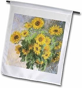 "3dRose Sunflowers Vintage Monet Floral Art - Garden Flag, 12 by 18"""
