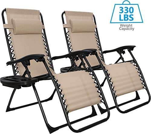 ZenStyle Adjustable Zero Gravity Lounge Chair Folding Out Door Reclining Chairs for Deck, Patio, Beach, Yard, Pool, w Utility Tray -Set of 2- Beige