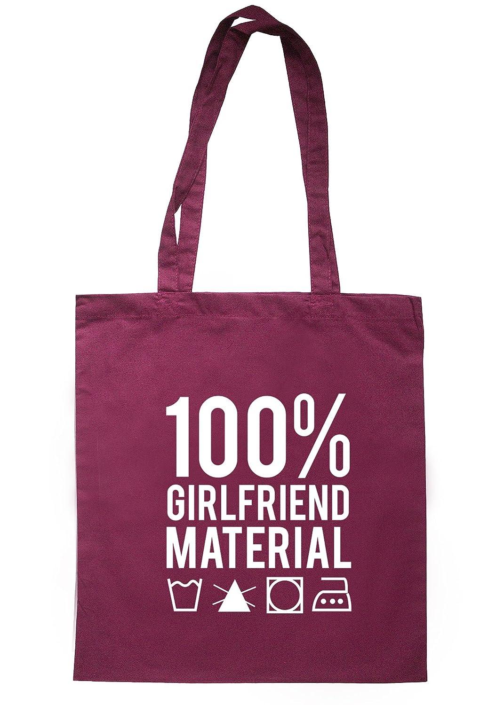 illustratedidentity 100% Girlfriend Material Tote Bag 37.5cm x 42cm with long handles TB0399-TB-NV