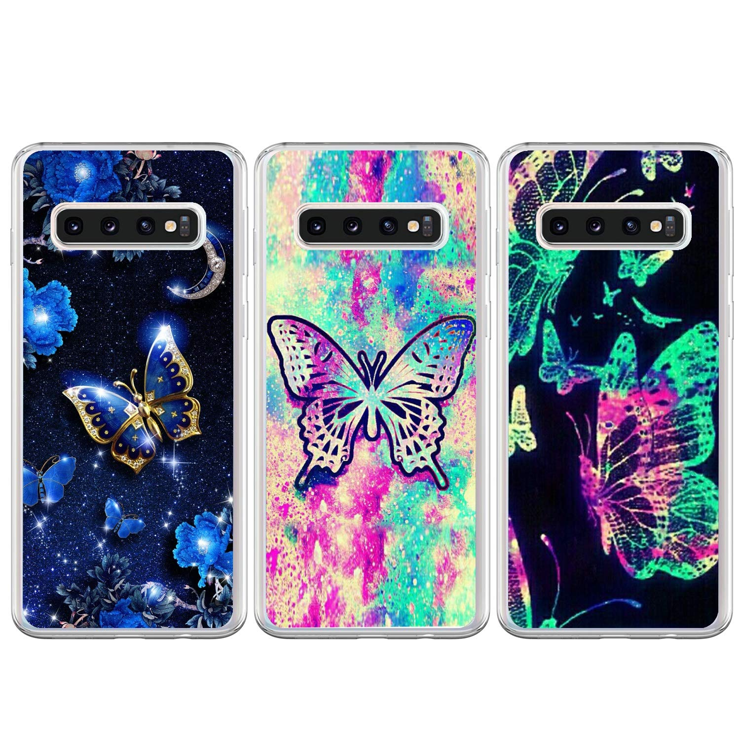 LaVibe Custodia in TPU per Samsung Galaxy S10+ Samsung S10 Plus Cover 3 x Soft Gel Rubber Bumper Shockproof Painted Pattern Cover