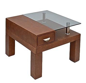 Ts ideen 8825   tavolino da soggiorno in legno e vetro, con 2 ...