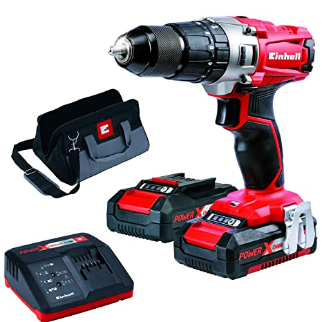 Einhell 4513834 Taladro sin Cable Percutor TE-CD 18/2 li-i Kit con Bateria Litio, 18 V, Rojo: Amazon.es: Bricolaje y herramientas