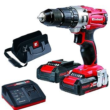 Einhell 4513834 Taladro sin Cable Percutor TE-CD 18/2 li-i kit con Bateria Litio 18 V, Rojo: Amazon.es: Bricolaje y herramientas