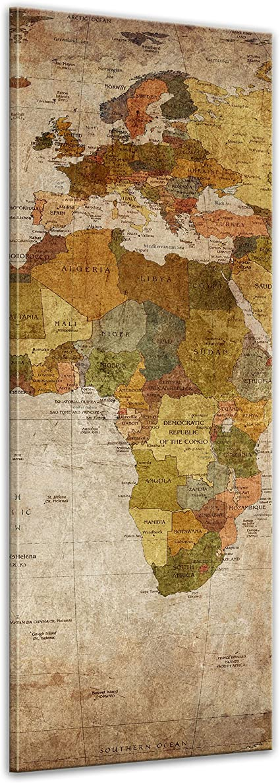 Bilderdepot24 Cuadros en Lienzo Retro Mapa del Mundo - 50 x 160 cm - Listo tensa, Directamente Desde el Fabricante: Amazon.es: Hogar