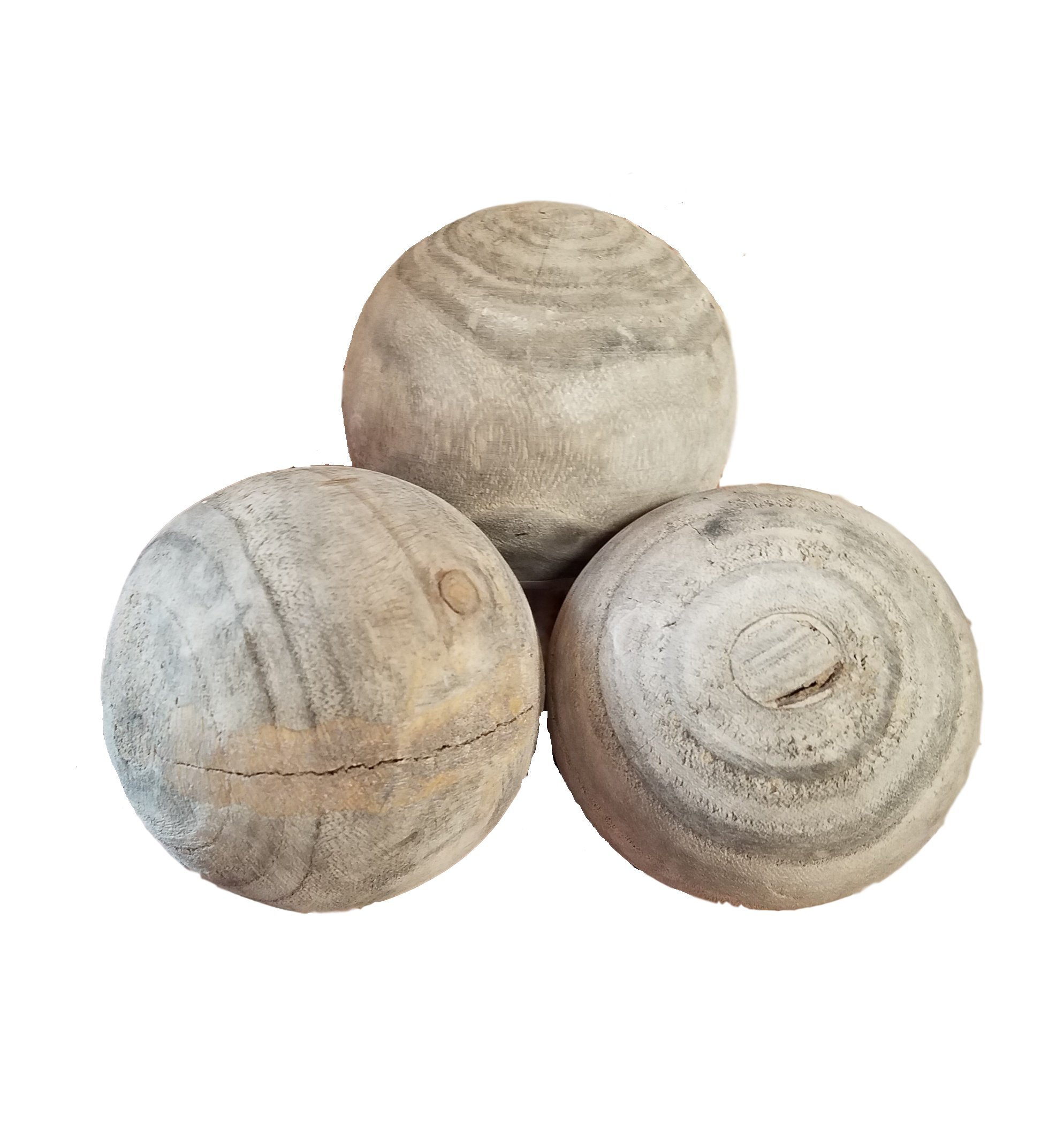 AT Set of 3 Gray Washed Wood Decorative Balls Orbs Spheres Farmhouse