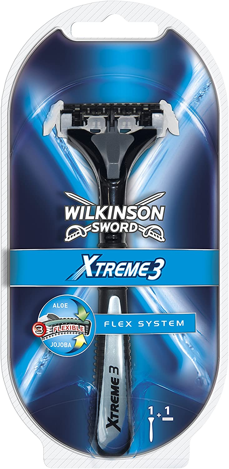Wilkinson Sword Razor Xtreme 3 - Flex System | Shaving Razor Handle with a Razor | 3 Flexible Blades System | Pivoting Head Adapting to the Contours of Face | Made in Germany Solingen